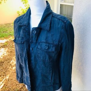 TOMMY BAHAMA women's navy washed linen jacket S